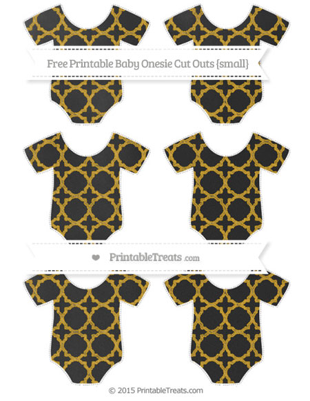 Free Gold Quatrefoil Pattern Chalk Style Small Baby Onesie Cut Outs