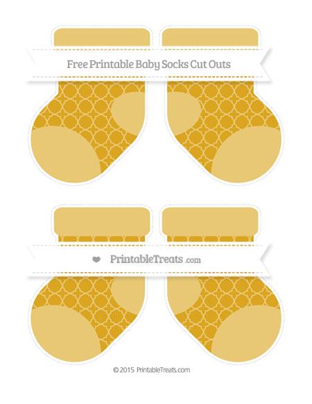 Free Gold Quatrefoil Pattern Medium Baby Socks Cut Outs