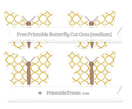 Free Gold Quatrefoil Pattern Medium Butterfly Cut Outs