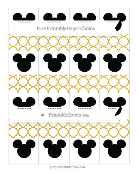 Free Gold Quatrefoil Pattern Mickey Mouse Paper Chains