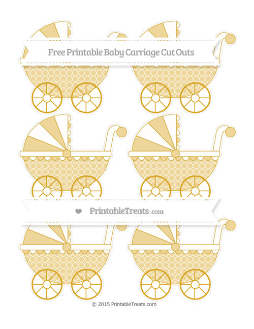 Free Gold Quatrefoil Pattern Small Baby Carriage Cut Outs