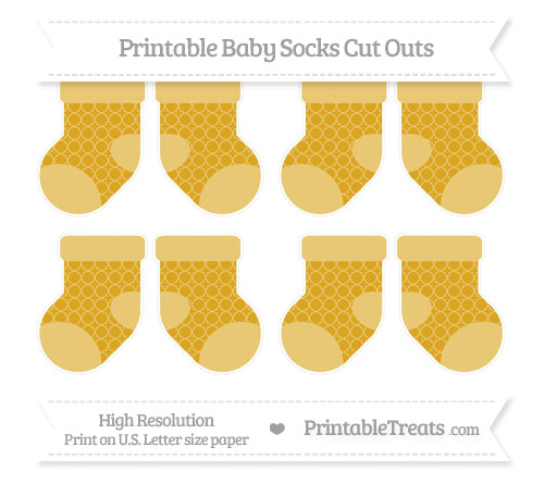 Free Gold Quatrefoil Pattern Small Baby Socks Cut Outs
