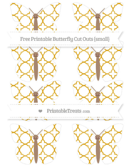 Free Gold Quatrefoil Pattern Small Smiley Butterfly Cut Outs