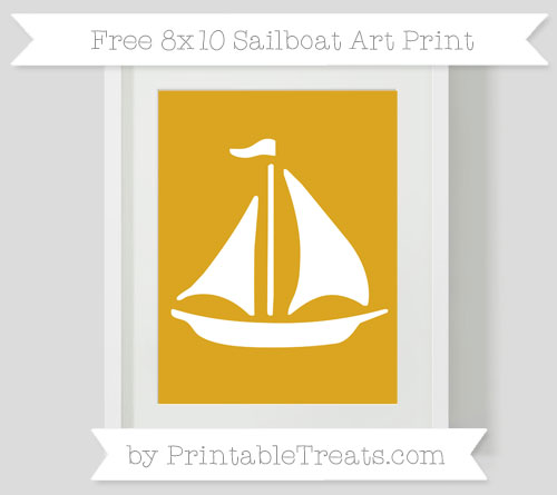 Free Gold Sailboat 8x10 Art Print
