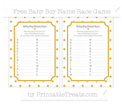 Free Gold Star Pattern Baby Boy Name Race Game