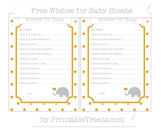 Free Gold Star Pattern Baby Elephant Wishes for Baby Sheets