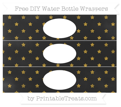 Free Gold Star Pattern Chalk Style DIY Water Bottle Wrappers