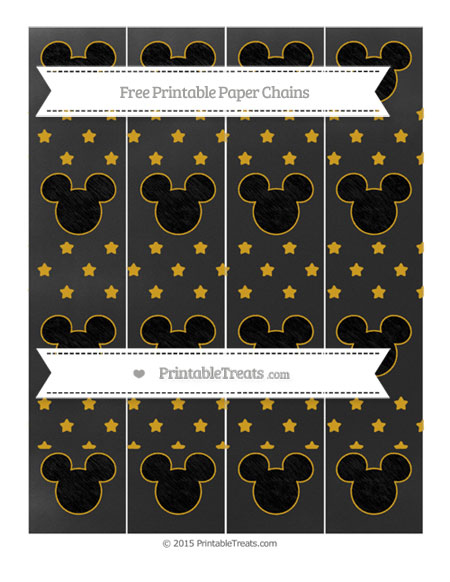 Free Gold Star Pattern Chalk Style Mickey Mouse Paper Chains