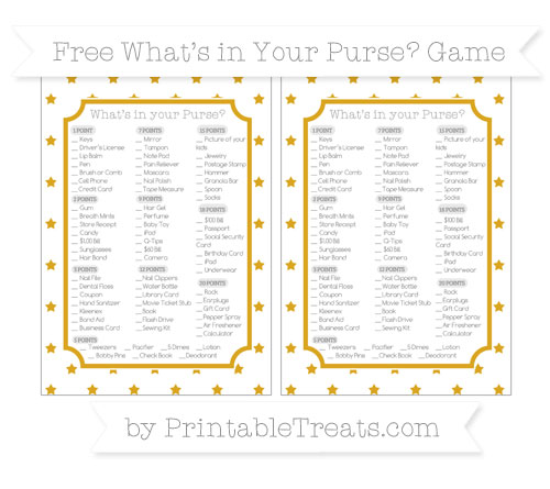 Free Gold Star Pattern What's in Your Purse Baby Shower Game