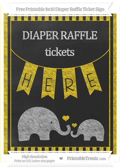 Free Gold Striped Chalk Style Elephant 8x10 Diaper Raffle Ticket Sign