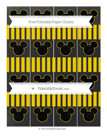 Free Gold Striped Chalk Style Mickey Mouse Paper Chains