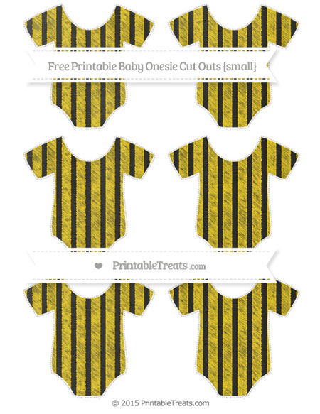 Free Gold Striped Chalk Style Small Baby Onesie Cut Outs