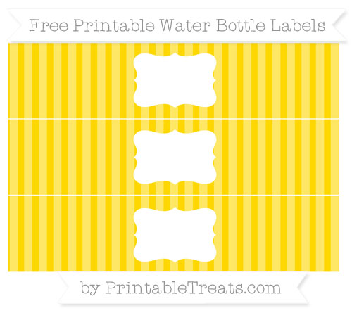 Free Gold Striped Water Bottle Labels