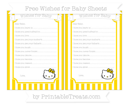 Free Gold Striped Hello Kitty Wishes for Baby Sheets