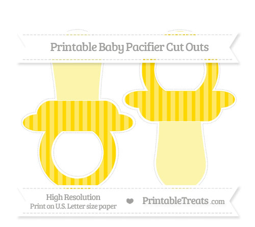 Free Gold Striped Large Baby Pacifier Cut Outs