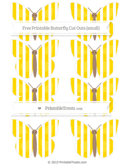 Free Gold Striped Small Butterfly Cut Outs