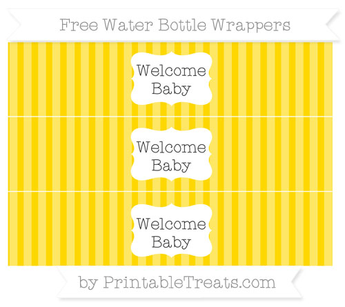 Free Gold Striped Welcome Baby Water Bottle Wrappers
