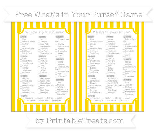 Free Gold Striped What's in Your Purse Baby Shower Game