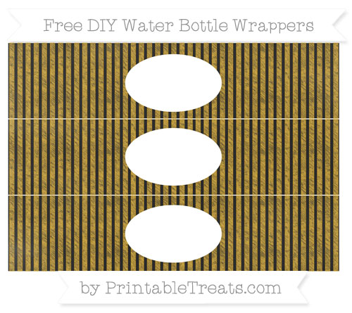 Free Gold Thin Striped Pattern Chalk Style DIY Water Bottle Wrappers