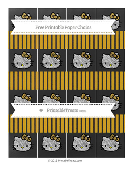 Free Gold Thin Striped Pattern Chalk Style Hello Kitty Paper Chains