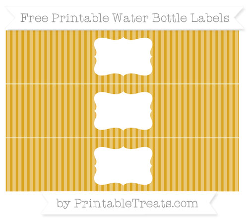 Free Gold Thin Striped Pattern Water Bottle Labels