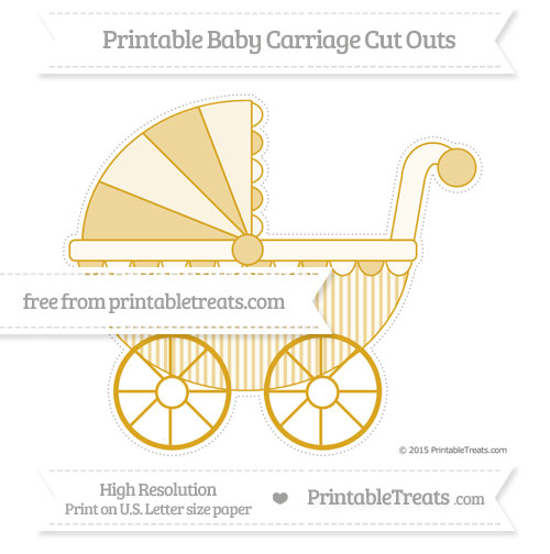 Free Gold Thin Striped Pattern Extra Large Baby Carriage Cut Outs