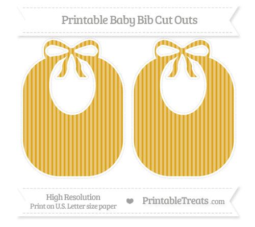 Free Gold Thin Striped Pattern Large Baby Bib Cut Outs