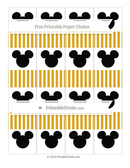 Free Gold Thin Striped Pattern Mickey Mouse Paper Chains