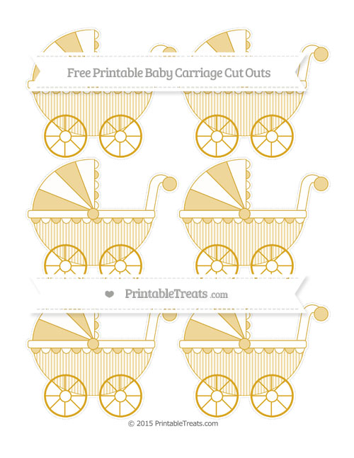 Free Gold Thin Striped Pattern Small Baby Carriage Cut Outs