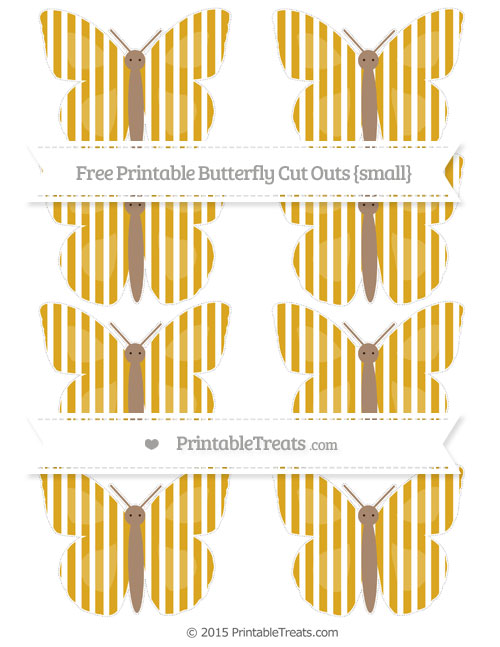 Free Gold Thin Striped Pattern Small Butterfly Cut Outs