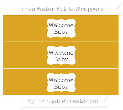 Free Gold Welcome Baby Water Bottle Wrappers