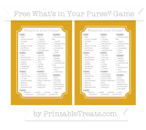 Free Gold What's in Your Purse Baby Shower Game
