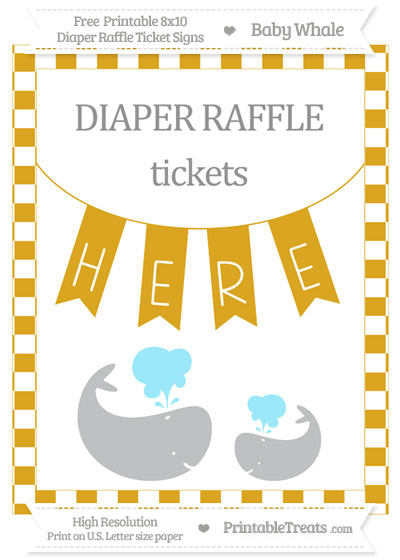 Free Goldenrod Checker Pattern Baby Whale 8x10 Diaper Raffle Ticket Sign