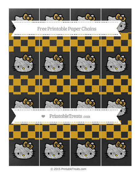 Free Goldenrod Checker Pattern Chalk Style Hello Kitty Paper Chains