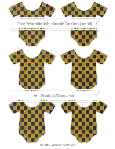 Free Goldenrod Checker Pattern Chalk Style Small Baby Onesie Cut Outs
