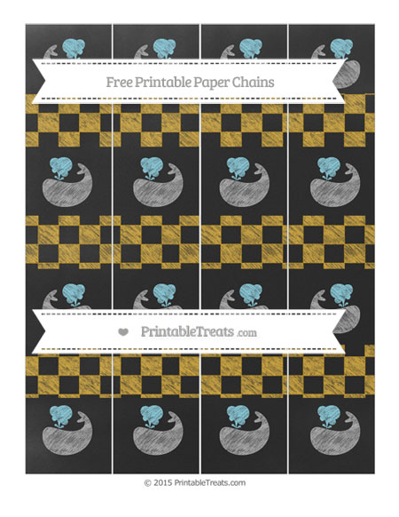 Free Goldenrod Checker Pattern Chalk Style Whale Paper Chains
