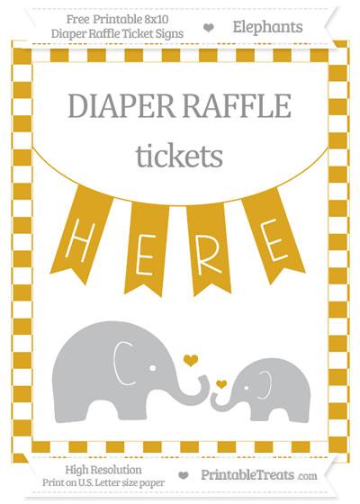 Free Goldenrod Checker Pattern Elephant 8x10 Diaper Raffle Ticket Sign