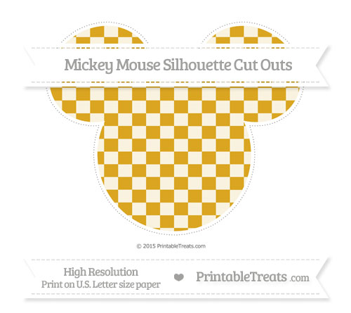 Free Goldenrod Checker Pattern Extra Large Mickey Mouse Silhouette Cut Outs