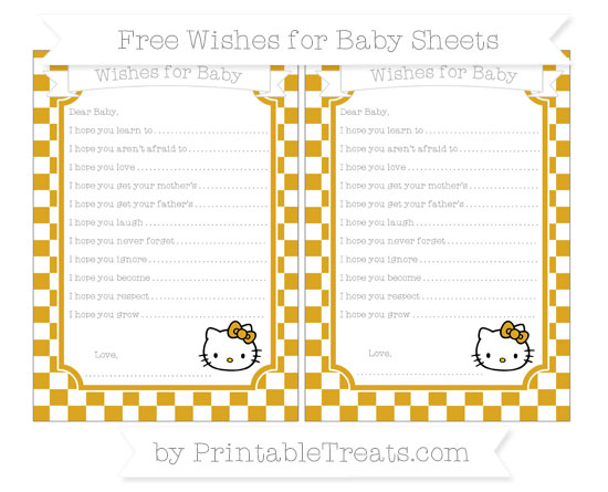 Free Goldenrod Checker Pattern Hello Kitty Wishes for Baby Sheets