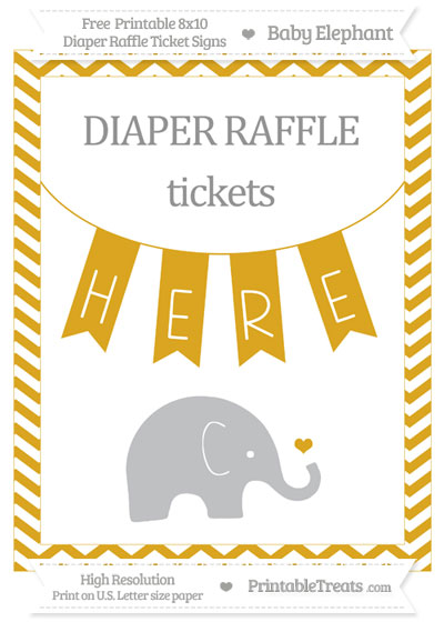 Free Goldenrod Chevron Baby Elephant 8x10 Diaper Raffle Ticket Sign