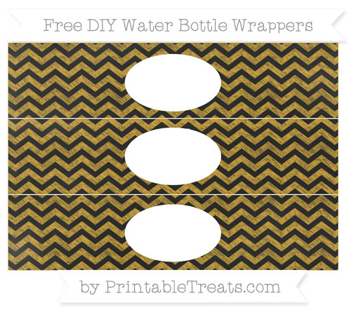 Free Goldenrod Chevron Chalk Style DIY Water Bottle Wrappers