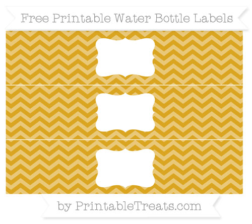 Free Goldenrod Chevron Water Bottle Labels