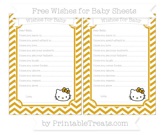 Free Goldenrod Chevron Hello Kitty Wishes for Baby Sheets