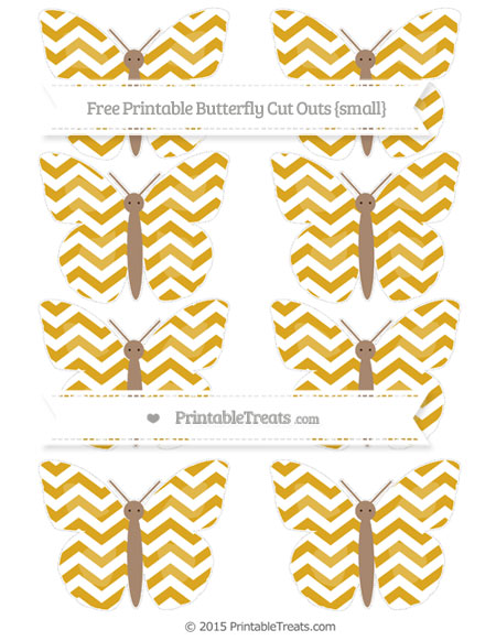 Free Goldenrod Chevron Small Butterfly Cut Outs