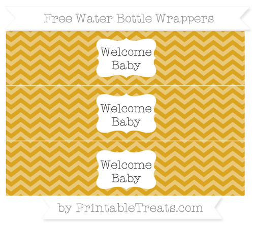 Free Goldenrod Chevron Welcome Baby Water Bottle Wrappers