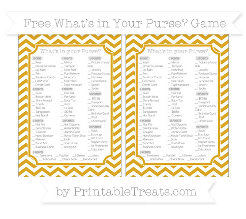 Free Goldenrod Chevron What's in Your Purse Baby Shower Game