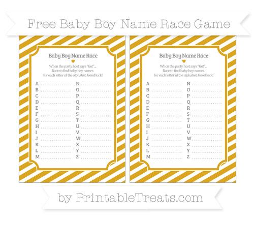 Free Goldenrod Diagonal Striped Baby Boy Name Race Game
