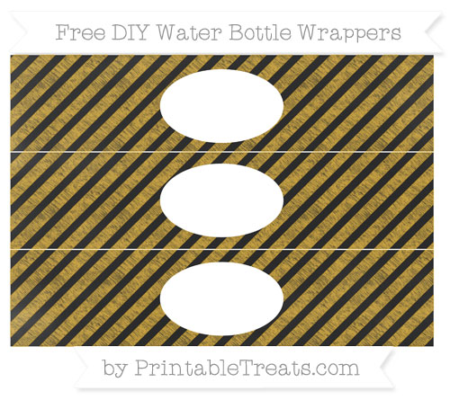 Free Goldenrod Diagonal Striped Chalk Style DIY Water Bottle Wrappers