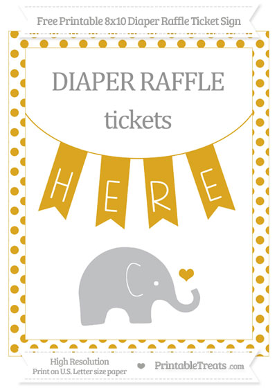 Free Goldenrod Dotted Baby Elephant 8x10 Diaper Raffle Ticket Sign