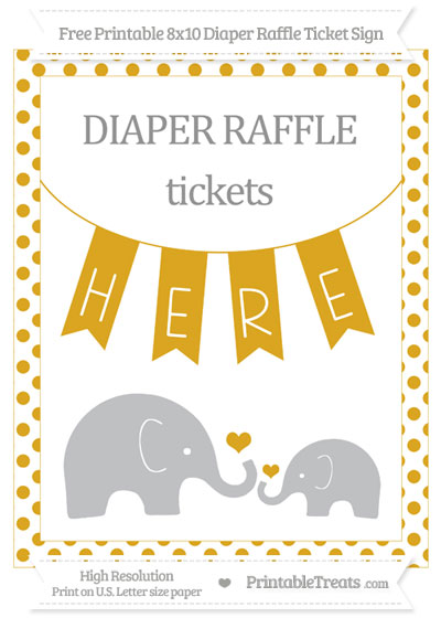 Free Goldenrod Dotted Elephant 8x10 Diaper Raffle Ticket Sign